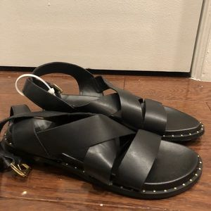 Black studded strappy sandals